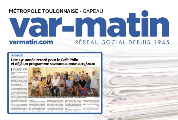 Var Matin : « Une 19e année record pour le Café Philo et déjà un programme savoureux pour 2019/2020 »